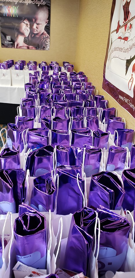 Goodie bags lined up for guests